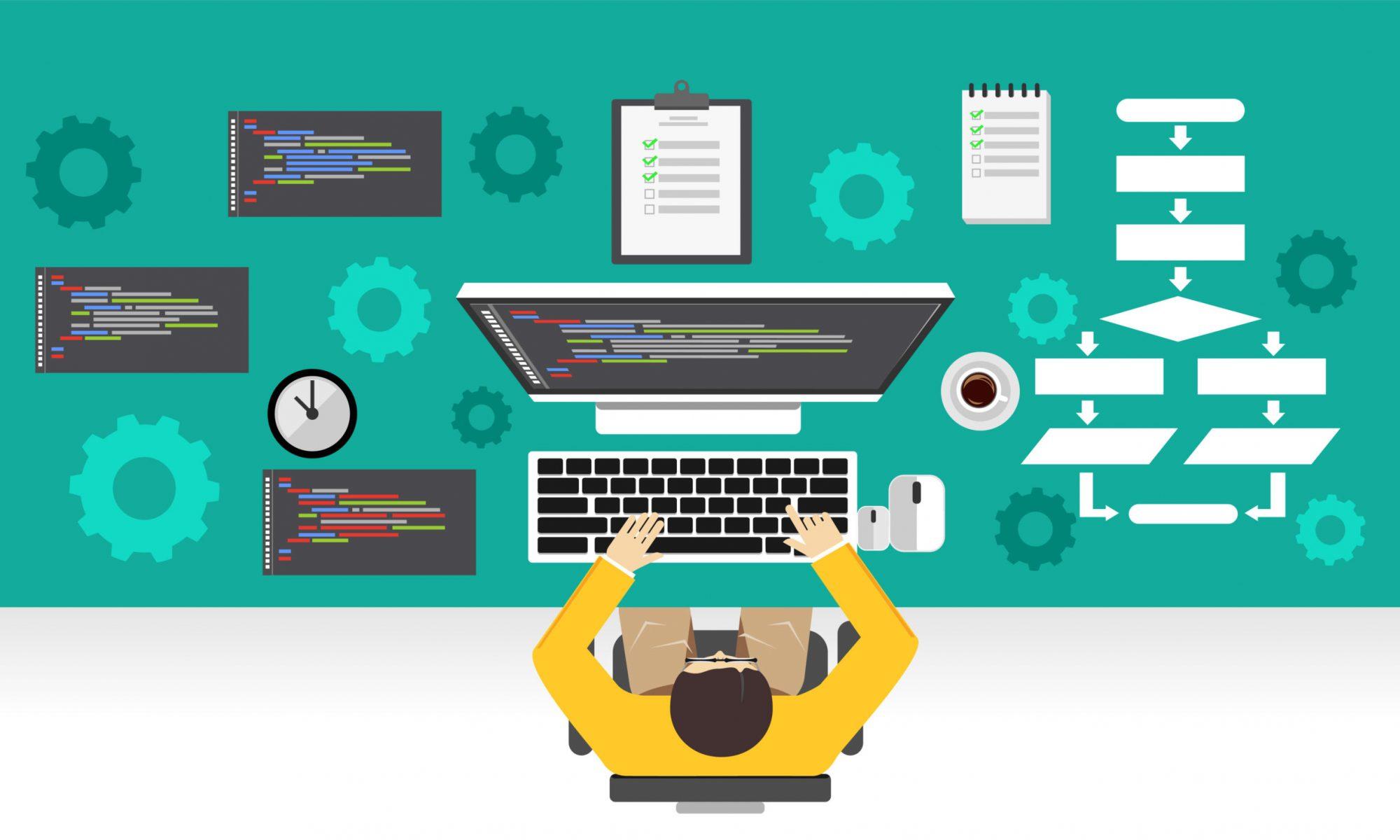 Software,Development.,Programmer,Working,On,Computer.,Programming,Mechanism,Concept.